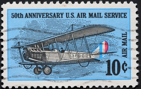 United States, 1968, postage stamp issued to commemorate air mail service Stock Photo - 11185720