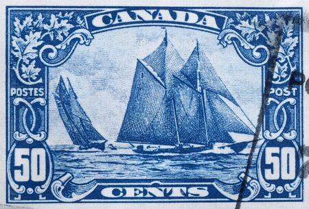 canada stamp: Canada, 1927, postage stamp depicting the Canadian racing schooner Bluenose Editorial