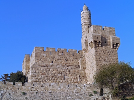 Jerusalem, Israel, October 2011 - Tower of David viewed from  outside Old City