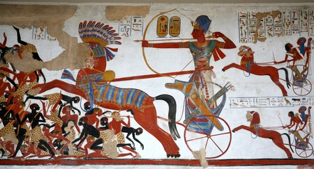 London, England - July  2009:  Ancient Egyptian wall painting at the British Museum, with hunting from a chariot Redactioneel