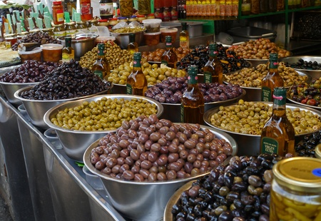 vats: Rome, Italy, October 2011 - olives on sale at an outdoor market
