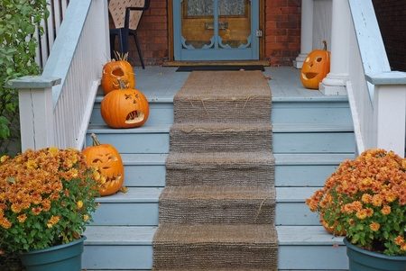 Chicago, USA, October 2008 - Pumpkins on front steps for Halloween Stock Photo - 11390270