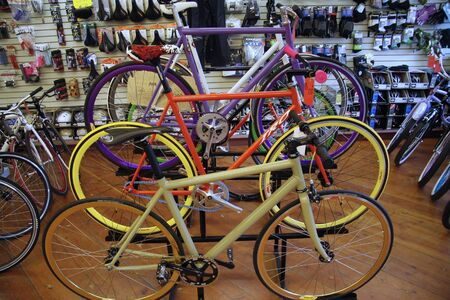 store interior: Chicago, USA, December 2008 - racing bikes in bicycle shop Editorial