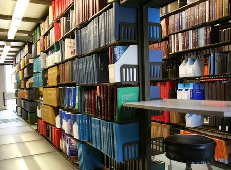 Chicago, USA, December 2008 - bookshelves in university library