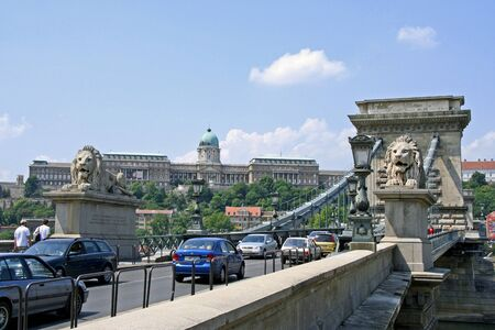 Budapest, May 2007 - Chain Bridge with lion sculpture Stock Photo - 11457843