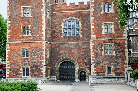 gatehouse: London, England - July  2009:  Tudor gatehouse of Lambeth Palace