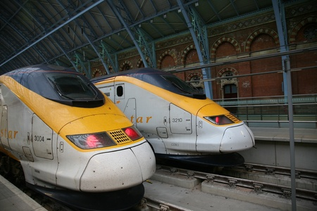London, England - July  2009:  Eusostar high speed trains at Paddington station