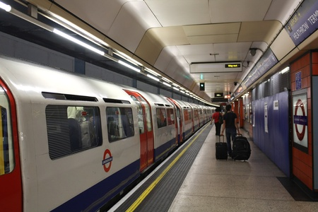 subway platform: London, England, July  2009, Heathrow Airport Underground Station