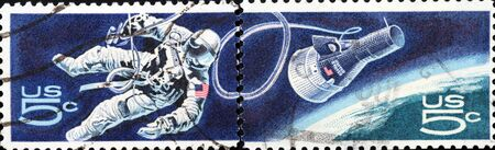 United States, 1964, postage stamp with space exploration Stock Photo - 13266198