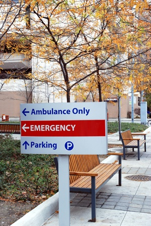 Toronto, Canada, August 2007 - hospital with emergency sign Editorial