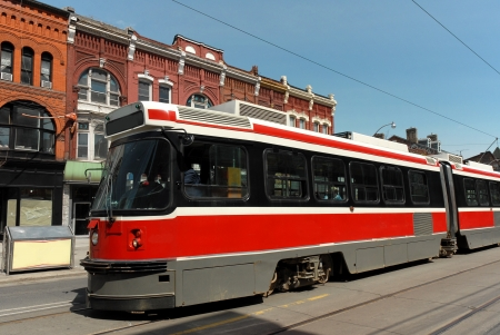 streetcar: Toronto, Canada, August 2008 -streetcar and old shops