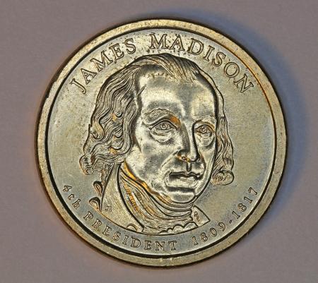 Washington, 2011, James Madison dollar coin Stock Photo - 14140389