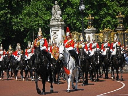 buckingham palace: London, England - July  2009:  royal horse guards at Buckingham Palace