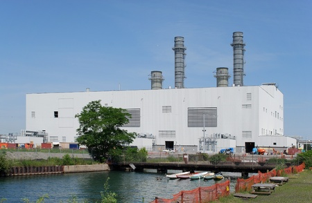 electric power station: Boston, USA, May 2008 - gas fired electric power station
