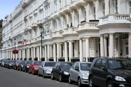 London, England - July  2009:  elegant townhouses in Kensington Stock Photo - 14443587