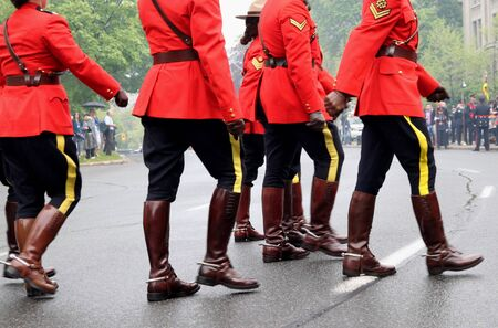 mountie: Ottawa, Canada, April 2012 - RCMP officers in dress uniform Editorial