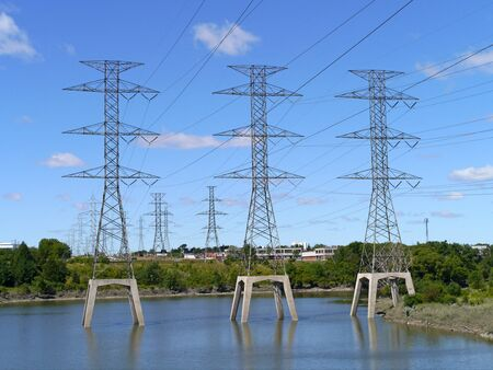 Toronto, Canada, August 2012, electricity transmission lines Stock Photo - 14720522