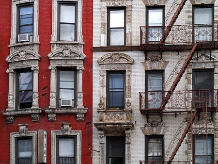 greenwich: New York, Greenwich Village, October 2012, old apartment building with fire escape