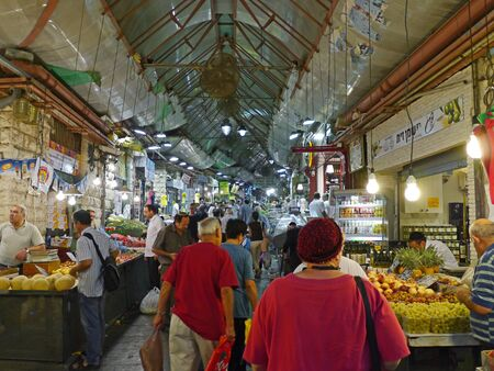 thronged: October 2011, Jerusalem indoor food market, a colorful ethnic market that is usually thronged with shoppers