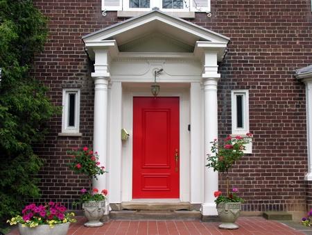 red door: Red front door with portico, Chicago, 2008