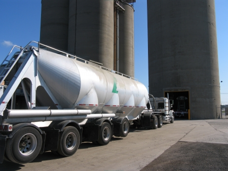 truck getting cement powder from silos, Toronto, 2009