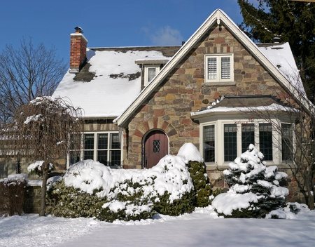 gable house: snow covered house, Chicago, 2010