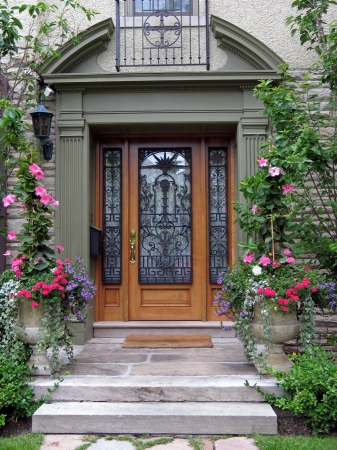 front of: front door with amaryllis, Lake Forest, Illnois, 2009 Editorial