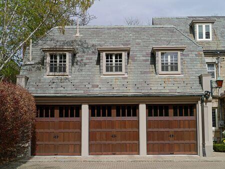 slate roof: three car garage with slate roof, Ottawa, May, 2013 Editorial