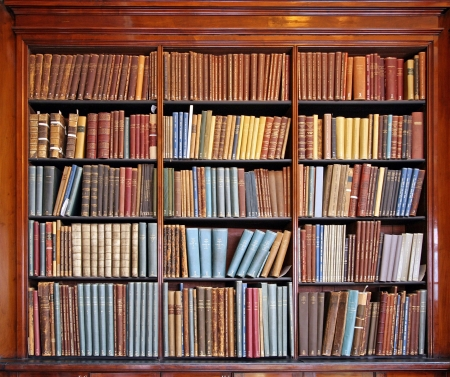 OLD LIBRARY: library shelves wth old books, Chicago, 2009