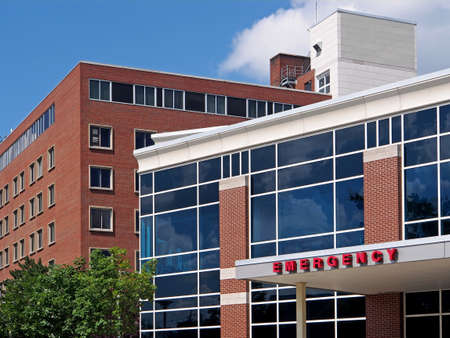 hospital building: Hospital emergency entrance, Cleveland, 2013