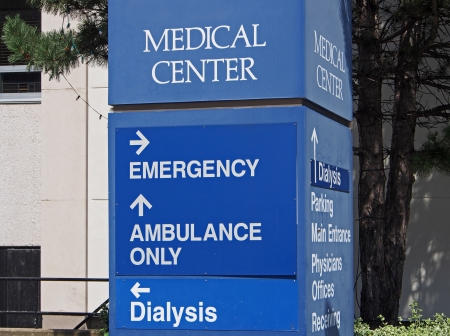 Hospital direction sign, Cleveland,  2013