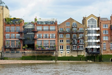 riverfront: London riverfront warehouses converted into apartments, 2009 Stock Photo