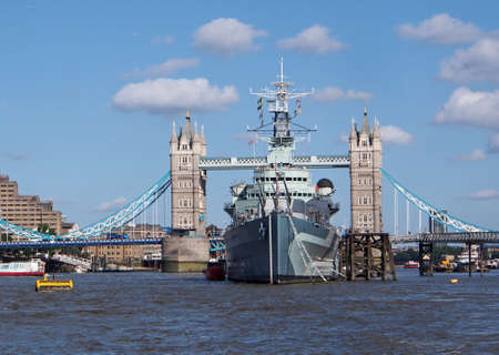 battleship: Thames with battleship and Tower Bridge, London, 2013