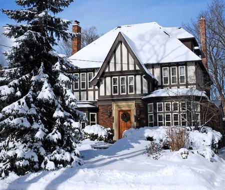 suburban: snow covered house, Toronto, 2009