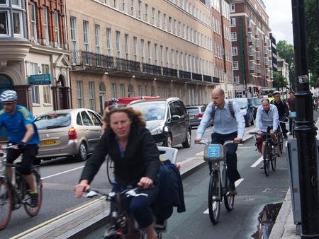 Crowded bike lane, London, 2013 Editorial