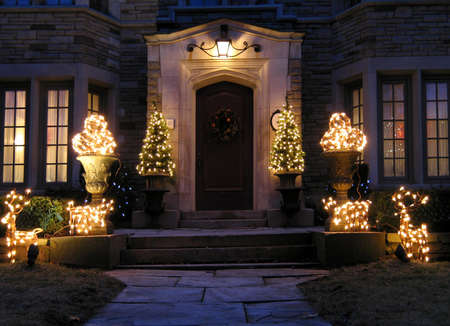 front door with holiday lights, Chicago, 2009
