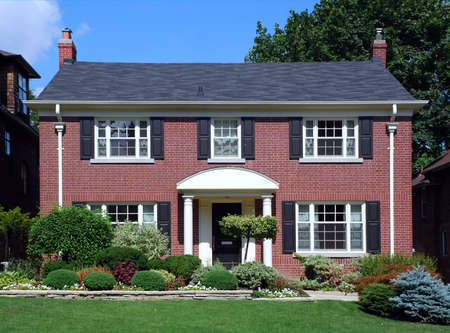 suburban: brick two storey house, Chicago suburbs, 2007