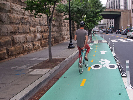separated bike lanes, Washington D C , 2014 Фото со стока - 29280689