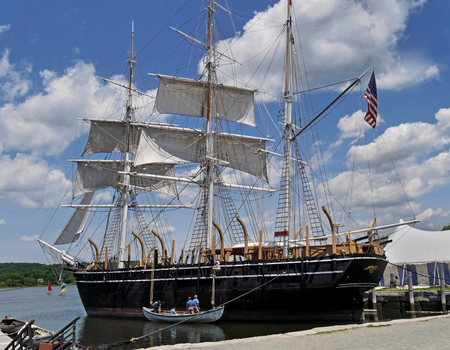 whaling: MYSTIC, CT - JULY 2015;  The Mystic Seaport museum includes the Charles Morgan, a wooden whaling ships from the 1800s,