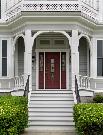 front house: white wooden porch and front steps of house, Vancouver, 2015 Editorial