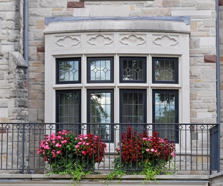 upper class: front porch with flower pots, Boston, 2015 Editorial