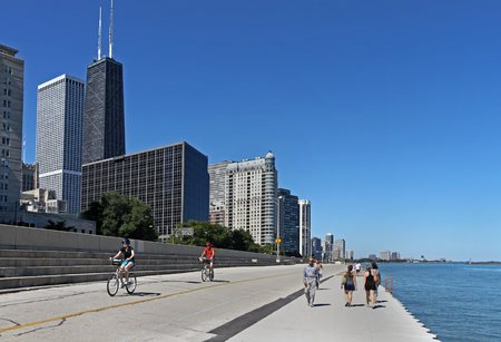 affluent: CHICAGO - 2010:  The affluent North Michigan area of Chicago hugs the waterfront where the recreational trail is popular
