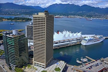 vancouver: Vancouver skyline and harbor, 2015 Editorial