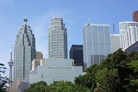 building cn tower: TORONTO - 2015:  Toronto is Canadas financial capital, with the head office buildings of the five largest banks in its financial district