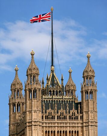 Union Jack flag on a tower of Parliament