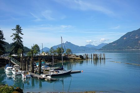 inlet: British Columbia, Pacific coast inlet with small boats