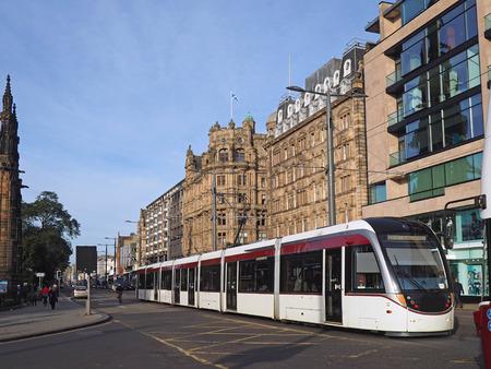 princes street: Tram  or streetcar on Princes Street in Edinburgh, Scotland