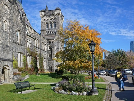 gothic architecture: college campus with gothic architecture in fall, Toronto 2016