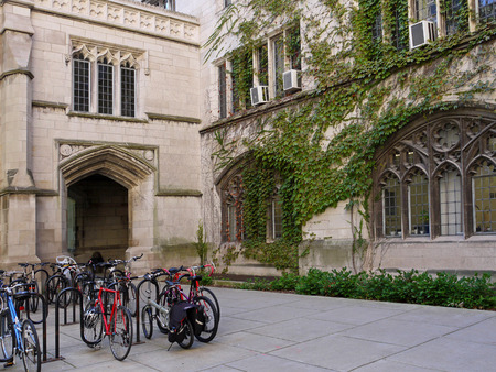 ivy league: bicycle rack in quadrangle of college campus with ivy covered building
