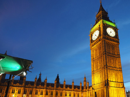 parliament building: British Parliament building and Big Ben, illuminated at night